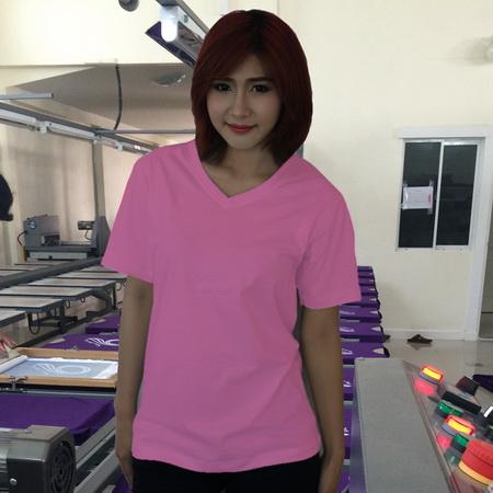 เสื้อยืดคอวี สีชมพูอ่อน รอบอก 44 นิ้ว เบอร์ XXL
