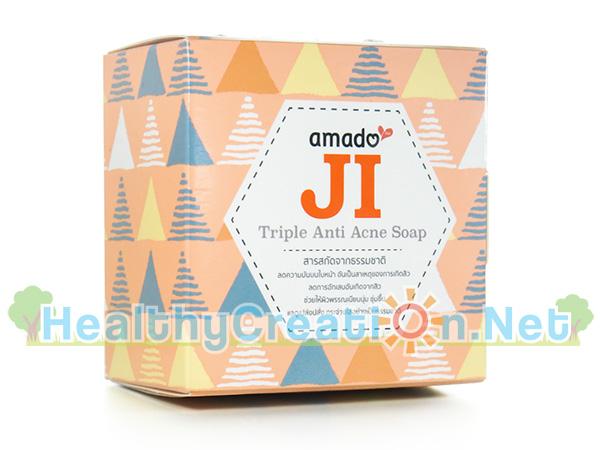 สบู่ Amado JI Triple Anti Acne Soap [100g. - สีส้ม] ลดการอักเสบของสิว ช่วยให้ผิวพรรณเนียนนุ่ม