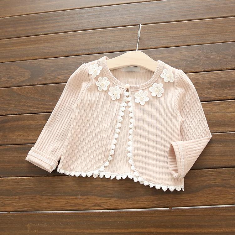 W095 : เสื้อคลุมสาวน้อยแขนยาวสีชมพู