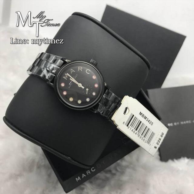 นาฬิกาข้อมือ Marc by Marc Jacobs Women's MBM3425 Baker Rhinestone-Accented Black Bracelet Watch