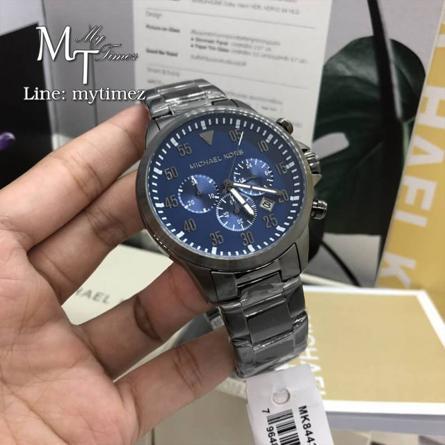 นาฬิกาข้อมือ MICHAEL KORS รุ่น Gage Chronograph Blue Dial Gunmetal Stainless SteelMen's Watch MK8443
