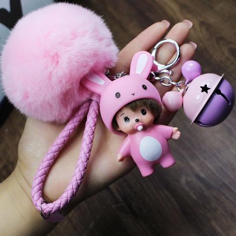 พวงกุญแจ ขนฟู รุ่น Baby doll สีชมพู 01