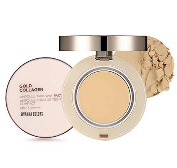 Sivanna Colors Gold Collagen Powder Ampoule Two way Pact spf 15 PA+++ แป้งทองคำคอลลาเจนผสมรองพื้น