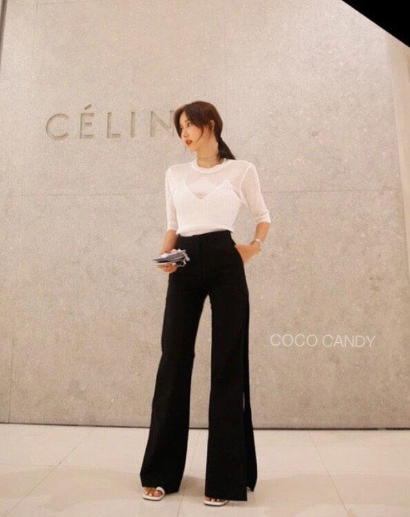 กางเกงแฟชั่น Korea Slit-hem Pants สีดำ