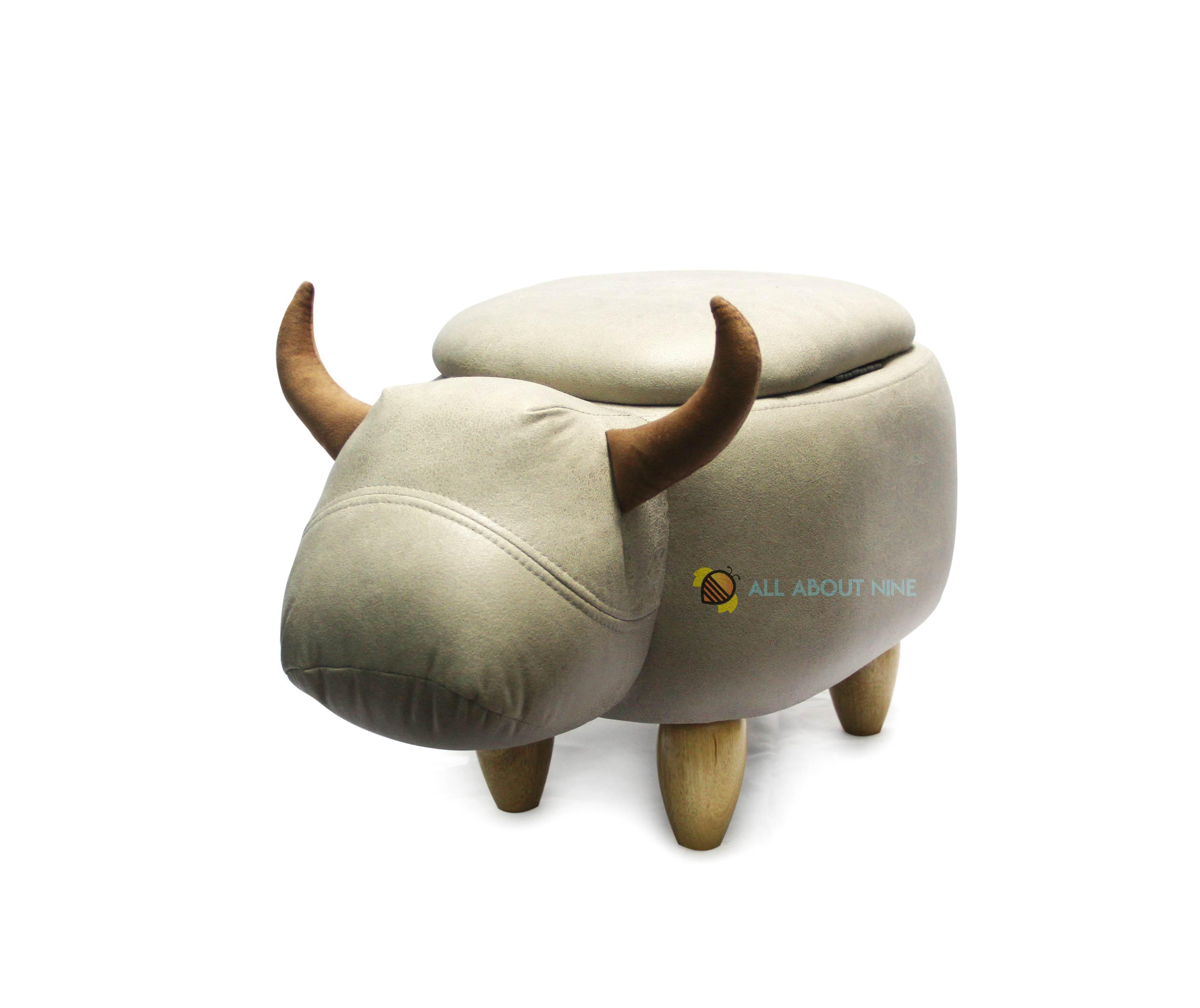 เก้าอี้เก็บของได้รูปวัว สีเทา