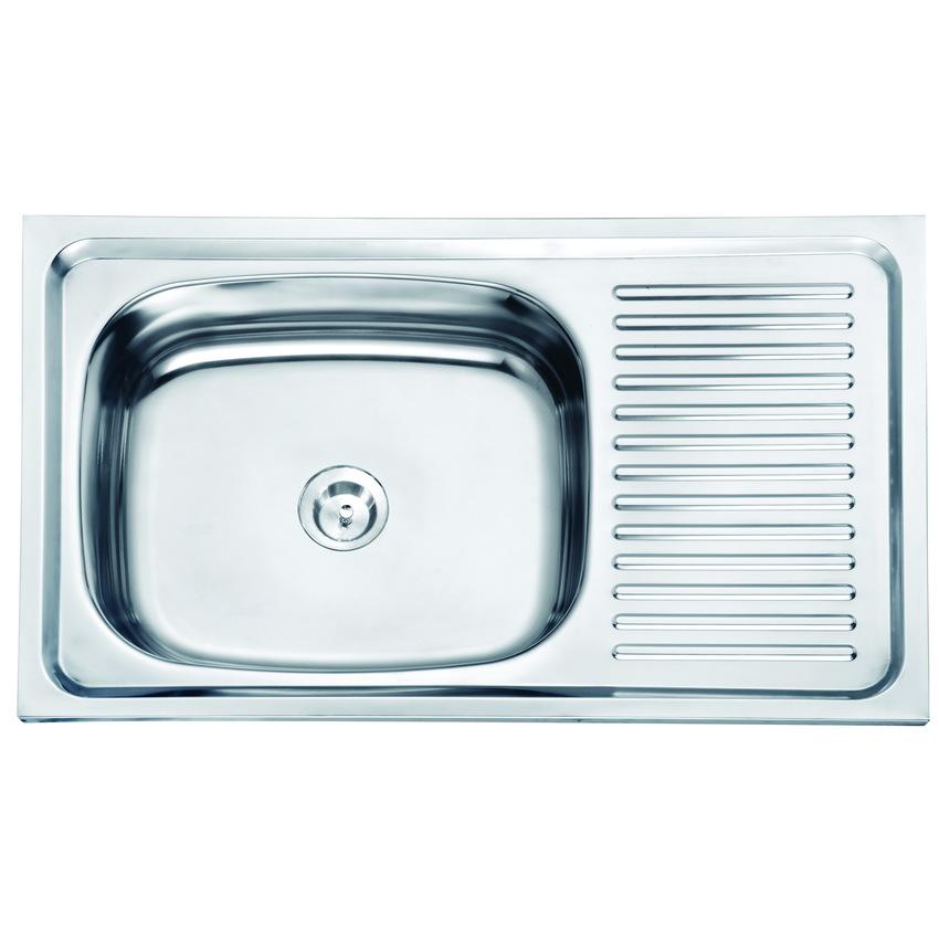 DH-7545 ซิงค์ล้างจาน หนึ่งหลุม สแตนเลส อ่างล้างจาน มีที่พักจาน sink แบบฝังหนา 0.6mm.