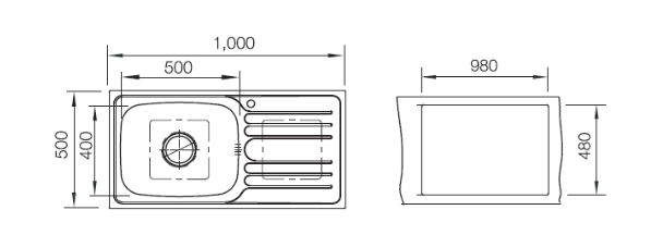 อ่างล้างจานสแตนเลส หลุมซ้าย พักขวา Artmis series (hafele)