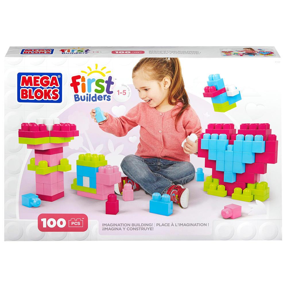 Mega Bloks First Builders Imagination Building - Pink ตัวต่อเสริมสร้างจินตนาการ จำนวน 100 ชิ้น โทนชมพู