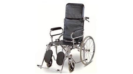 PS75 รถเข็นผู้ป่วยเหล็กชุบโครเมี่ยมแบบปรับเอน-นอน เบาะหนัง