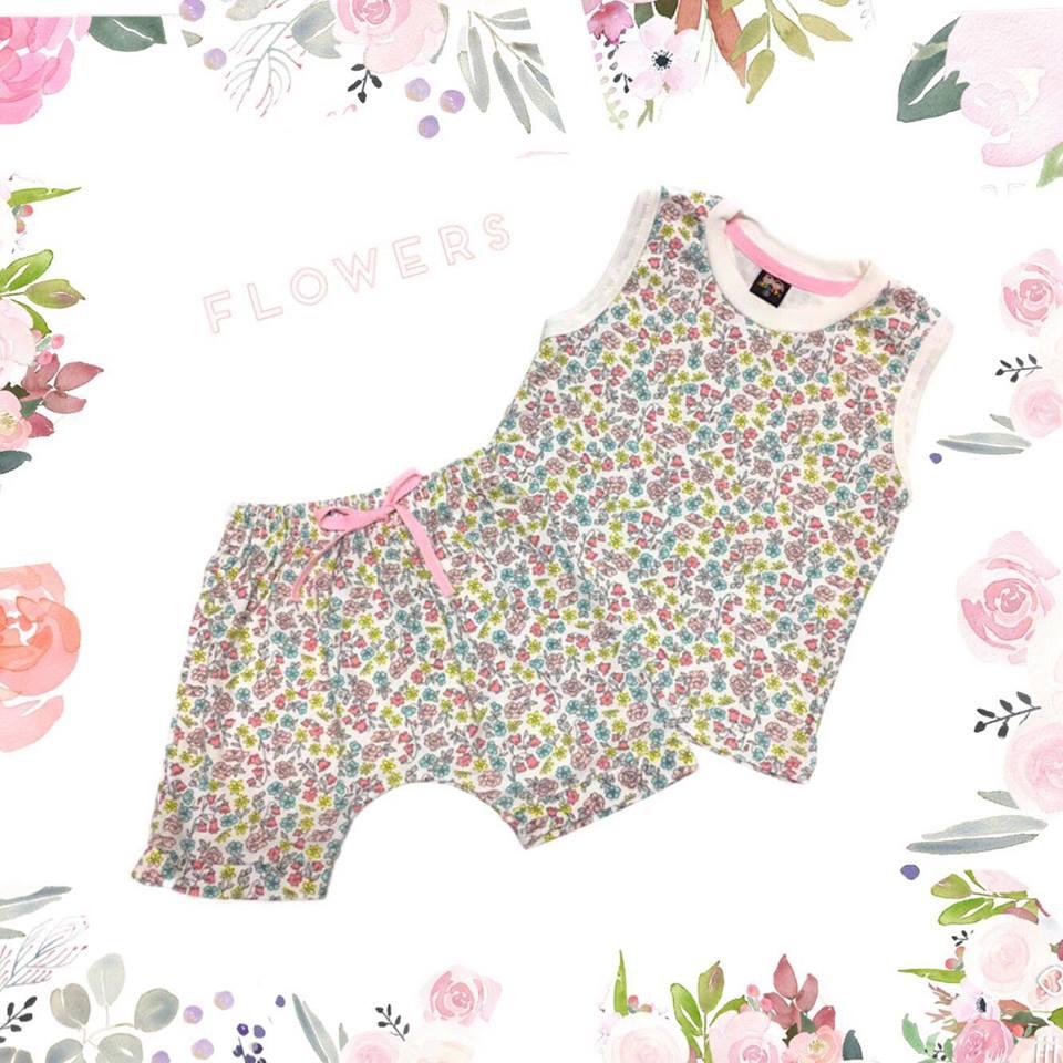 ชุดเซตเสื้อกล้ามลายดอกไม้