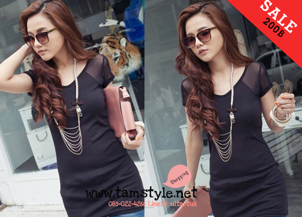 Dress071-เดรสแฟชั่นสีดำ ผ้าใส่สบาย เหมาะสำหรับคนตัวเล็ก ถ้าคนตัวสูงใส่เป็นเสื้อได้จ้าา อก 34 ((เดรสแฟชั้นพร้อมส่ง))