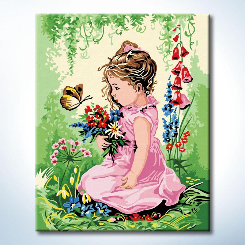 """TG380 ภาพระบายสีตามตัวเลข """"เก็บดอกไม้กับผีเสื้อ"""""""