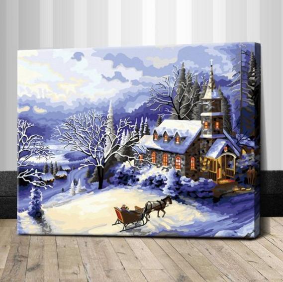 """TG357 ภาพระบายสีตามตัวเลข """"บ้านน้อยกลางหิมะ"""""""