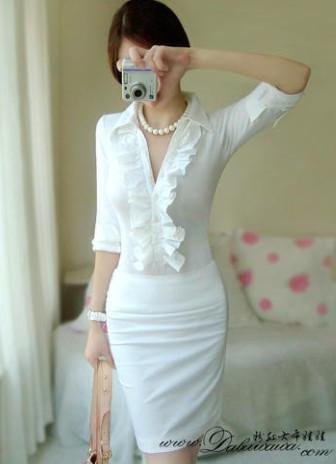 Bling เสื้อคอปกแขนยาวสีขาว ผ้าเนื้อดี