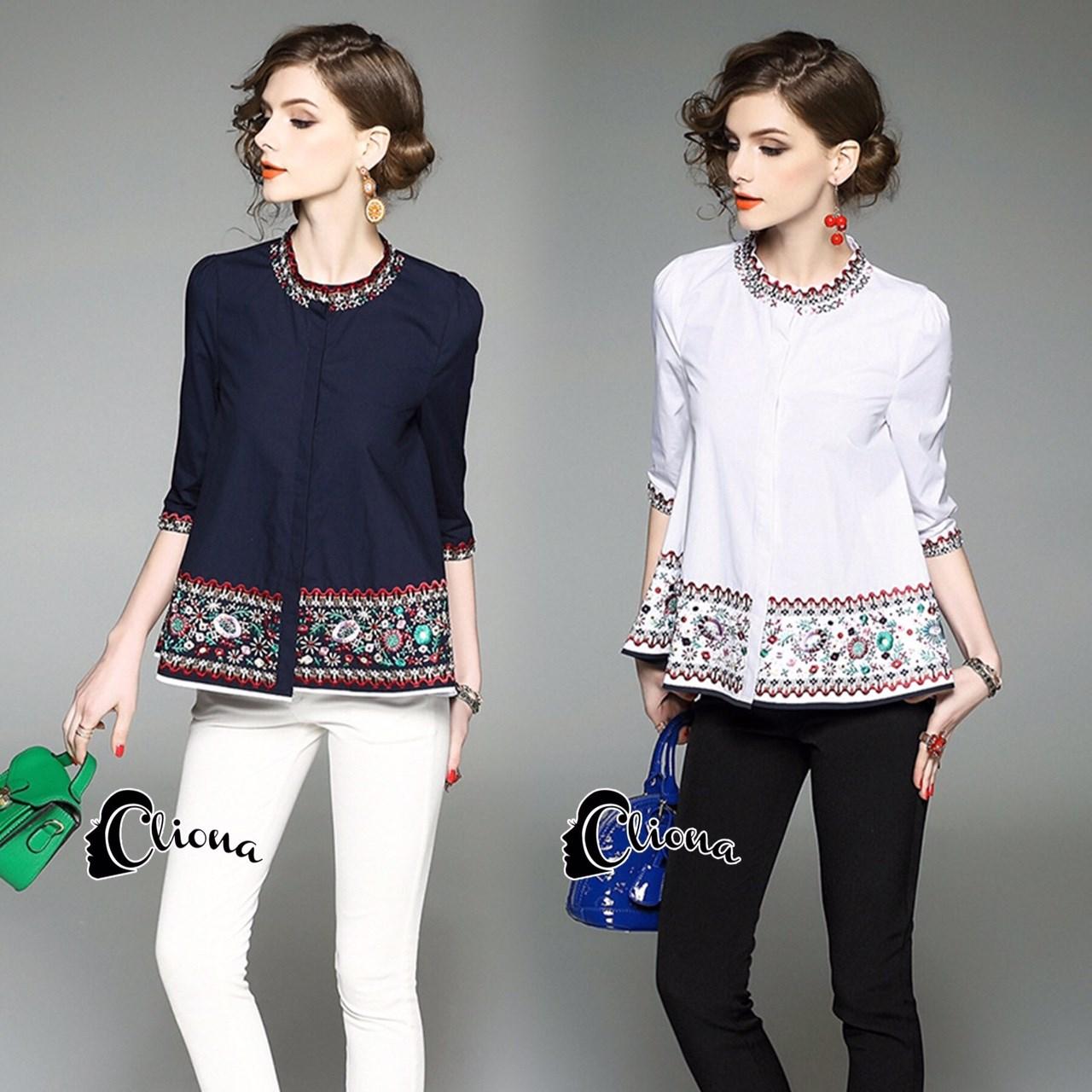 shirt แขนยาวผ้า cotton สีพื้น ขาว/กรม