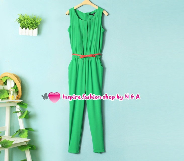 จั๊มสูทแขนกุดกางเกงขายาวสีเขียว Spring and summer women fashion Korean temperament Slim waist piece pants fold chiffon piece slacks