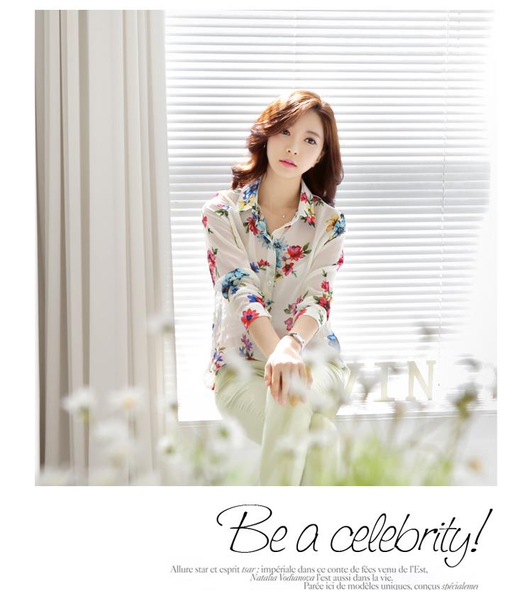Korea Closet เสื้อชีฟองพิมพ์ลายดอกไม้ ดีเทลทรงตรง คอปกแขน