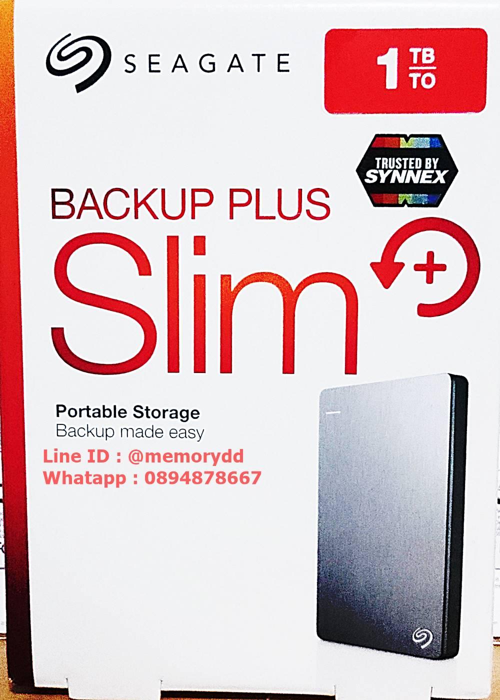 "Seagate Backup Plus Slim 1TB 2.5"" (Silver) USB3.0 (STDR1000301)"