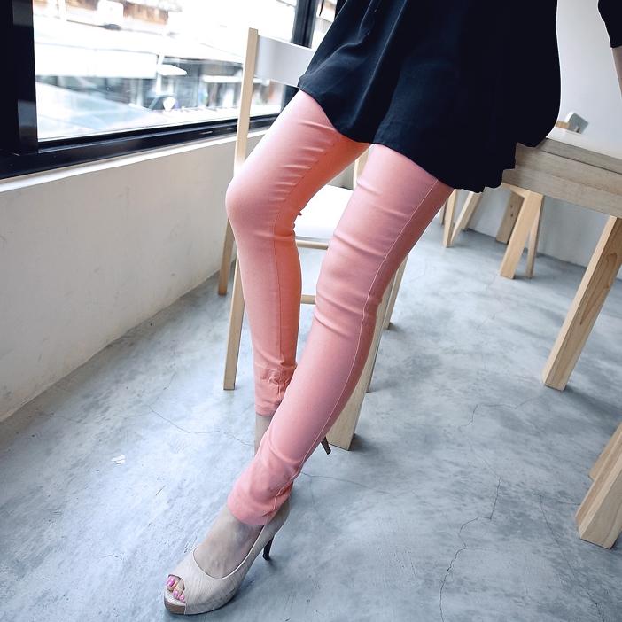 [Preorder] กางเกงขายาวแฟชั่นเข้ารูป สีชมพู (ไซส์ S - XL) Spring loaded elastic wave little pencil pants feet pants pants pants female big yards