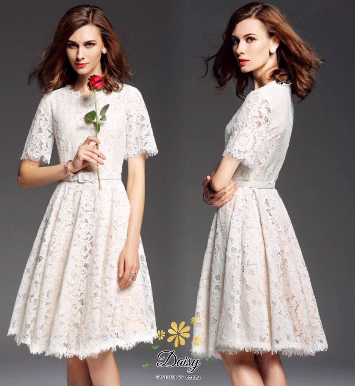 ชุดเดรสผ้าลูกไม้ชนิดนิ่ม ชุดใช้ผ้าลูกไม้ลายดอกสีขาว