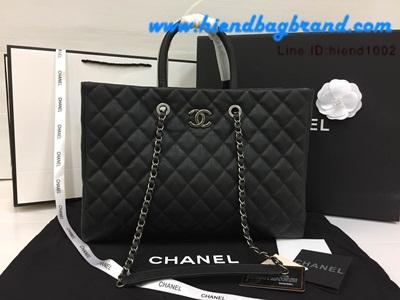 CHANEL Large Tote Bag Lambskin Black