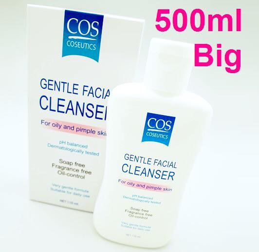 COS Coseutics Facial Cleanser forOily and Pimple Skin (500ml.) ซีโอเอส คอสซูติก ผลิตภัณท์ทำความสะอาดผิว สูตรอ่อนโยน สำหรับผิวมัน ผิวที่เป็นสิว หรือผิวผสม ขนาดใหญ่
