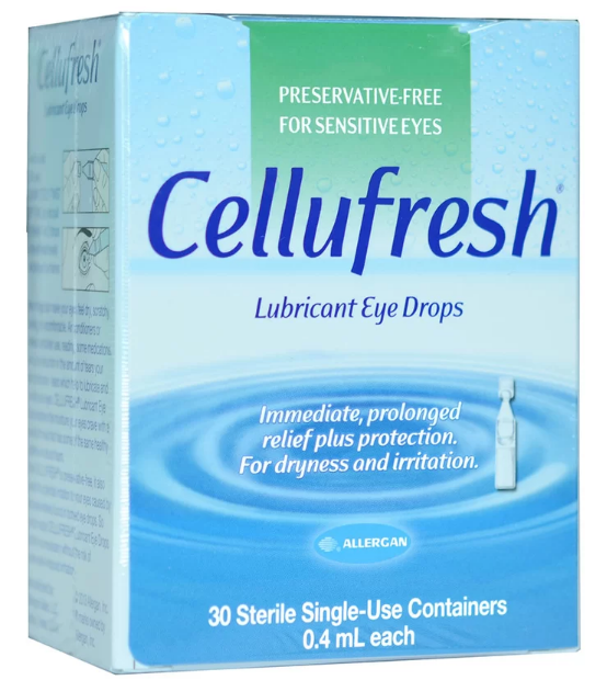 Cellufresh Lubricant EYE drops น้ำตาเทียม ไม่มีสารกันบูด 0.4ML 1กล่อง