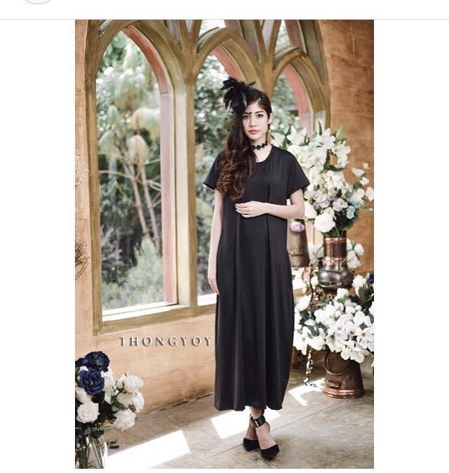 black Pocket Maxi Dress เดรสยาวแขนสั้น สีดำ (ใส่เป็นชุดคลุมท้องได้ค่ะ)