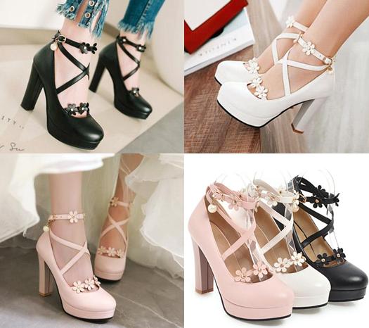 รองเท้าส้นสูงแต่งดอกไม้น่ารักๆสีชมพู/ขาว/ดำ ไซต์ 34-43