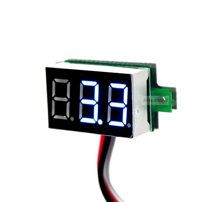 """ดิจิตอลโวลต์มิเตอร์ 0-100 โวลต์ จอขนาด 0.36"""" สีน้ำเงิน Mini 3 Digital 0.36'' LED DC 0-100 V BLUE Volt Voltage Metea Voltmeter 3-24V Power Supply"""