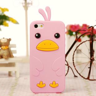 เคสไอโฟน 5/5s/SE (ซิลิโคน) เป็ดน้อยน่ารัก สีชมพู