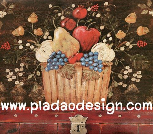 กระดาษสาพิมพ์ลาย สำหรับทำงาน เดคูพาจ Decoupage แนวภาำพ ตระกร้าไม้สี่เหลี่ยมบรรจุไปด้วยผลไม้ นานาชนิด มีดอกไม้ปักประดับอยู่ด้านบน สไตล์วินเทจ vintage (ปลาดาวดีไซน์)