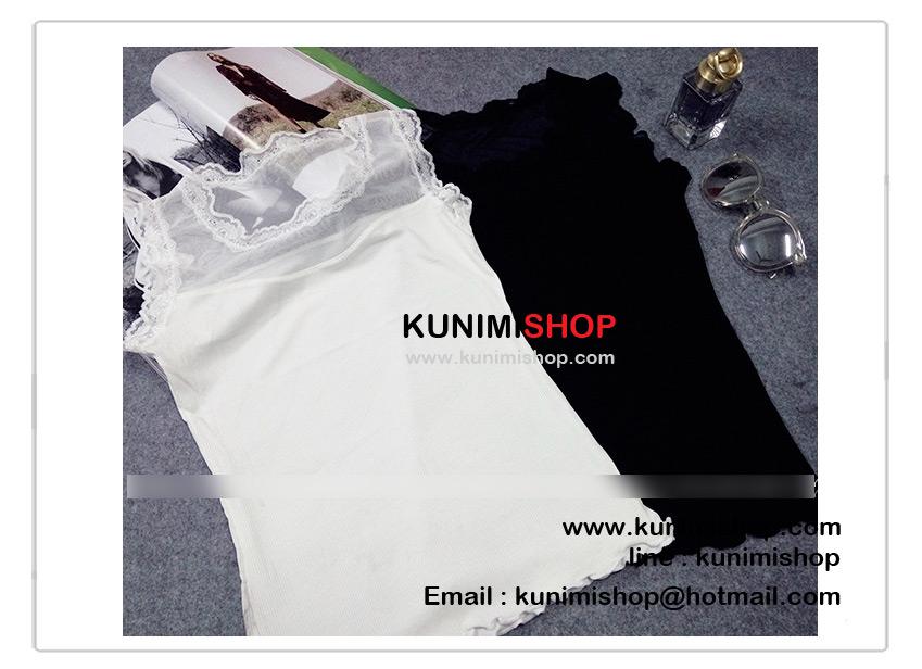 เสื้อกล้าม เสื้อซับในเต็มตัว ด้านบนเป็นผ้าซีทรู ช่วงคอและแขนเสื้อประดับด้วยผ้าลายลูกไม้ สวยหวาน รอบอกไม่เกิน 34 นิ้ว / มี 2 สี ขาว , ดำ