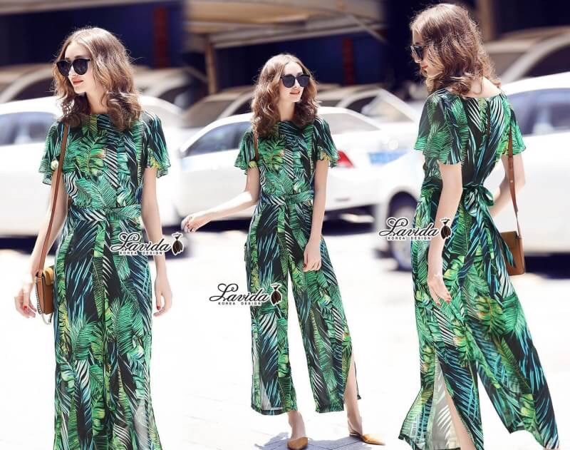 เสื้อผ้าเกาหลี พร้อมส่ง เสื้อกับกางเกง ลายใบไม้โทนสีเขียว