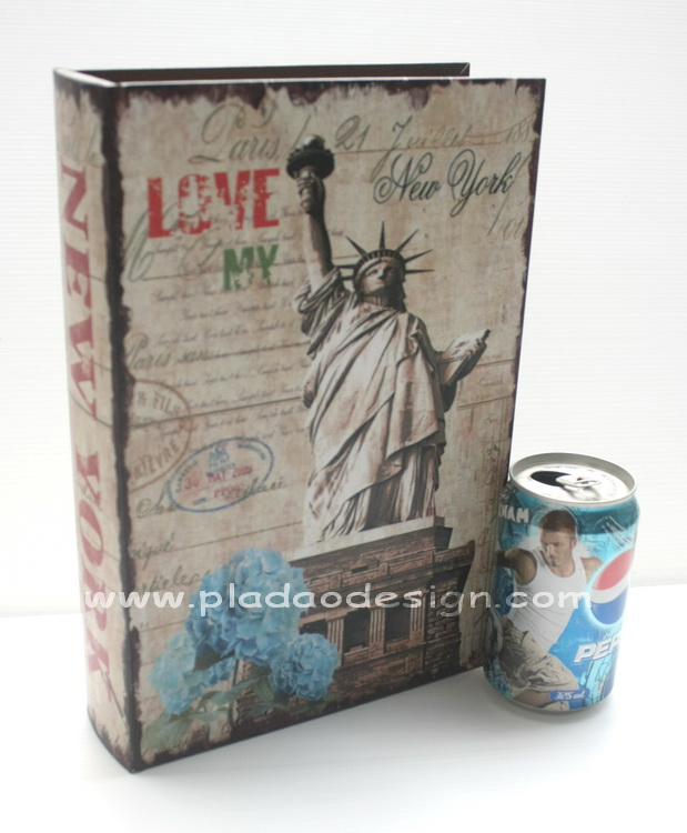 กล่องเก็บของทรงหนังสือแนววินเทจ ขนาดกลาง M ลาย Love My New York และเทพีเสรีภาพ