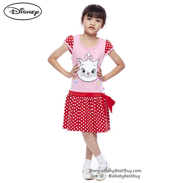 ( 4-6-8 ) ชุดเดรส Disney Marie สีชมพู แขนสั้น กระโปรงสีแดง ดิสนีย์แท้ ลิขสิทธิ์แท้ (สำหรับเด็ก4-6-8 ปี)