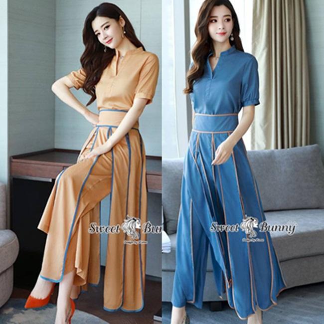 ชุดเซทแฟชั่น ชุดเสื้อ+กางเกงงานเกาหลี ผ้าเนื้อดีมีน้ำหนัก ผ้าสีพื้น เสื้อคอกลม