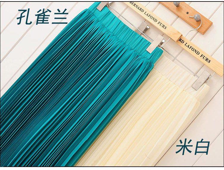 Pre-Order กระโปรงพลีท ผ้าชีฟอง สไตล์โบฮีเมียน ความยาว 50 - 96 cm.สีเขียวเข้มและสีขาว