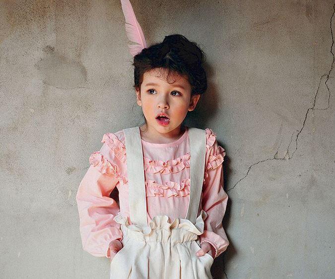 เสื้อผ้าเด็ก PinkIdeal เสื้อสีขมพูแขนยาวจั๊มปลายแขน