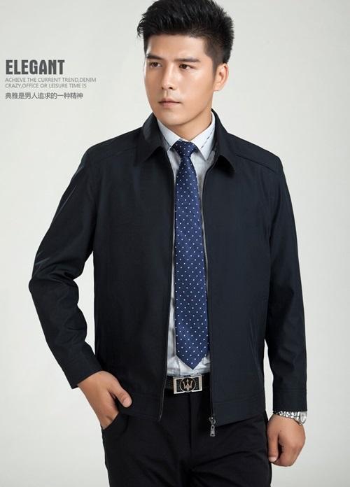 Pre-Order เสื้อเจ็คเก็ตผู้ชาย ผ้าไหมจีน แฟชั่นเสื้อทำงานแบบกึ่งทางการ สีน้ำเงิน