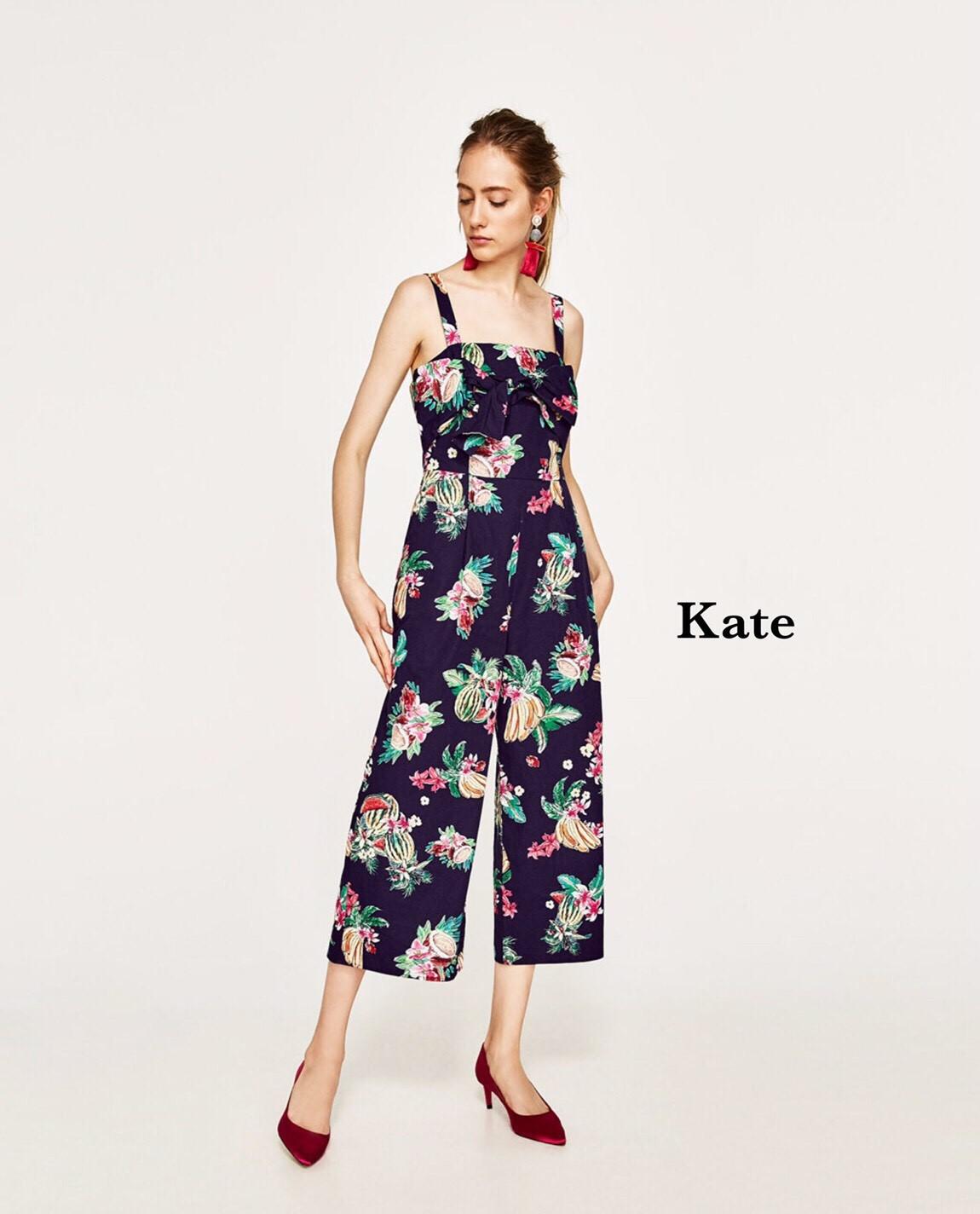 จั๊มสูทแฟชั่น จั้มสูท สายเดี่ยวลายดอก Brand Zara