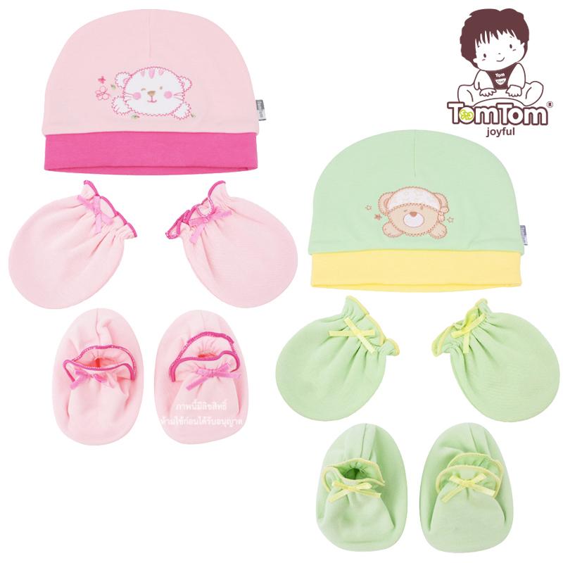 เซตหมวกพร้อมถุงมือและถุงเท้าเด็กแรกเกิดสีพื้น TomTom Joyful