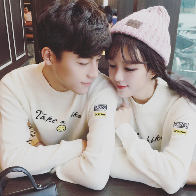 เสื้อแขนยาวคู่รักเกาหลี พิมพ์ตัวอักษรด้านหน้า มี2สี