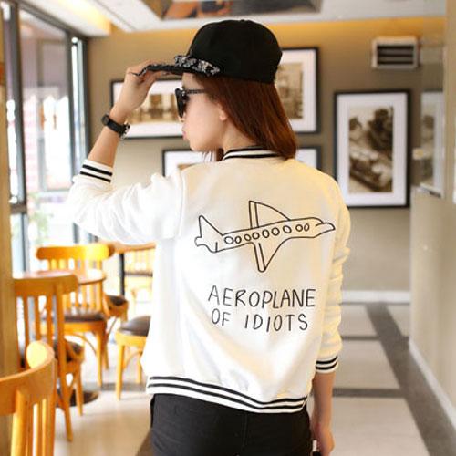 ++สินค้าพร้อมส่งค่ะ++Jacket เกาหลี คอกลม แขนยาว ผ้า cotton space สไตล์ baseball สกรีนเก๋ Aeroplane มี 6 สีค่ะ – สีขาว