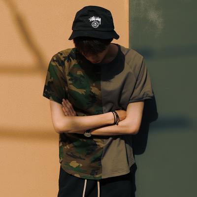 เสื้อยืดแขนสั้นเกาหลี สีเขียวทหาร แต่งสลับลายพราง