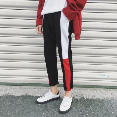กางเกงขายาวเกาหลี สีดำ แต่งแถบเส้นสลับสี
