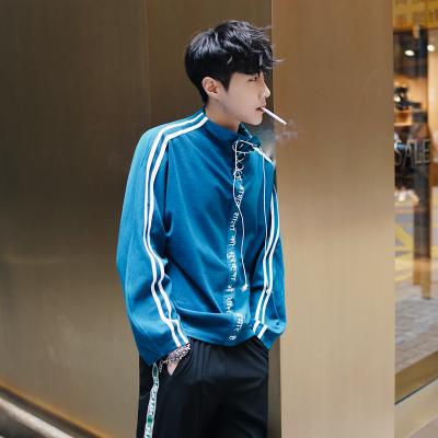 เสื้อแจ็คเก็ตสีน้ำเงินเกาหลี แต่งแถบซิบ ดีไซน์แขนเสื้อ