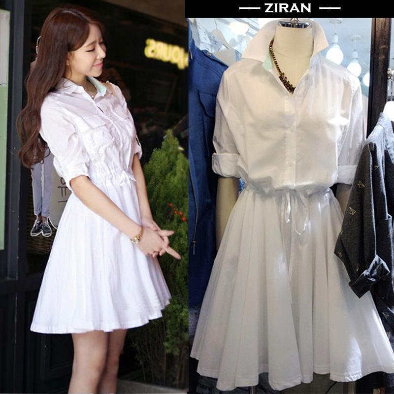 Pre Order ชุดกระโปรงแฟชั่นสีขาว เสื้อทรงเชิ้ตแขนยาว สม็อคเอว สไตล์เกาหลี