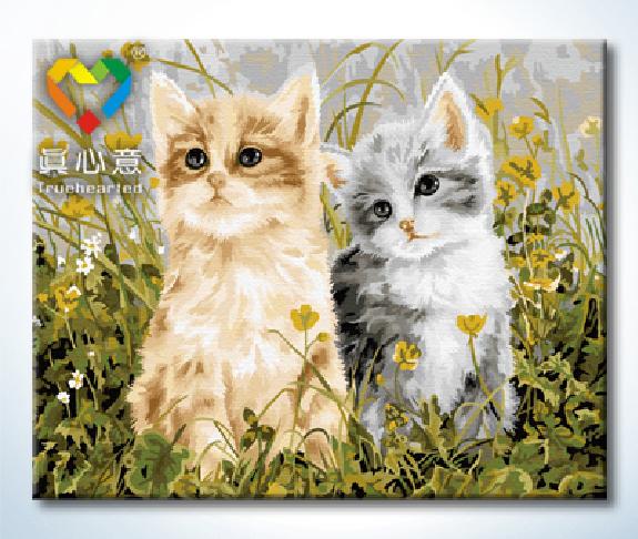รหัส HB4050209 ภาพระบายสีตามตัวเลข Paint by Number แบบ Lovely Cats ขนาด40x50cm/พร้อมส่ง