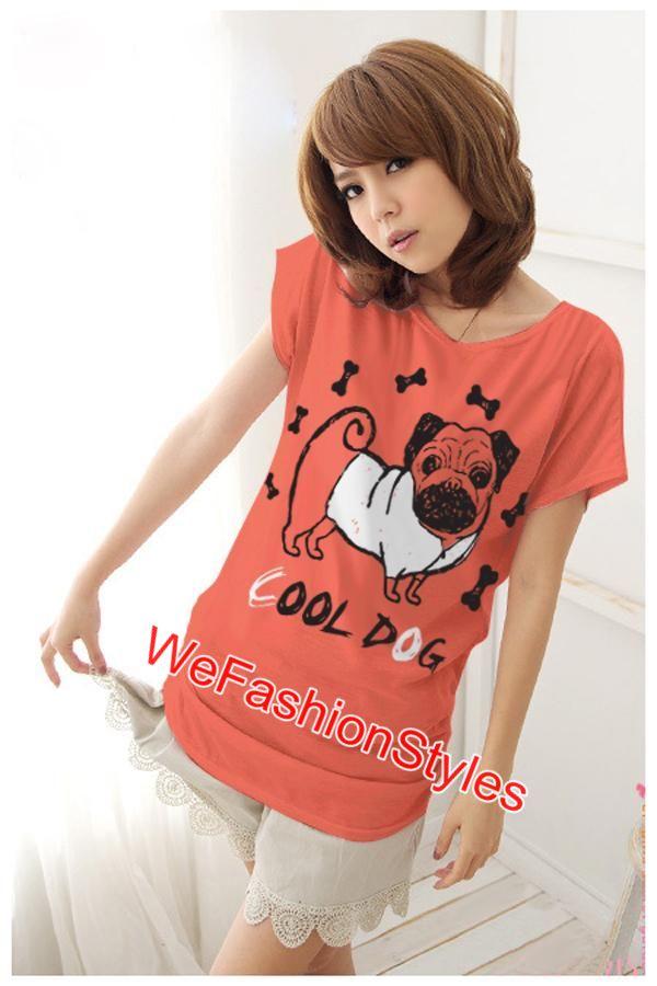 เสื้อยืดแฟชั่น ผ้านุ่ม ลาย Cool Dog (Size M:36 นิ้ว) สีส้ม